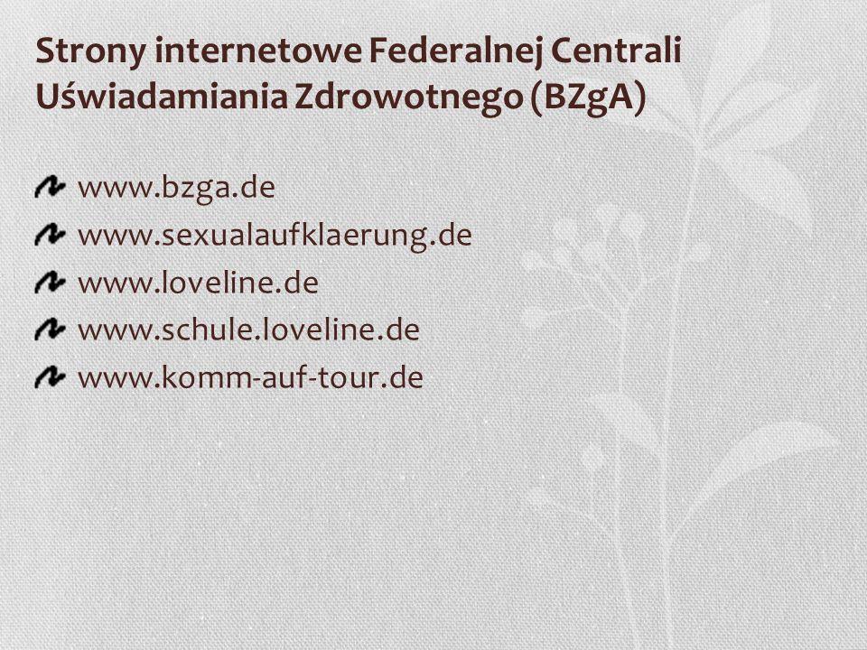 Strony internetowe Federalnej Centrali Uświadamiania Zdrowotnego (BZgA) www.bzga.de www.sexualaufklaerung.de www.loveline.de www.schule.loveline.de ww