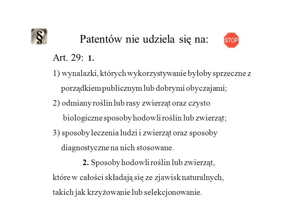 Patentów nie udziela się na: Art.29: 1.