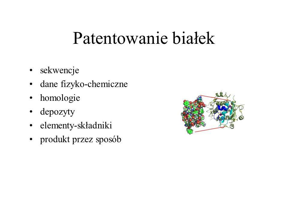 Patentowanie białek sekwencje dane fizyko-chemiczne homologie depozyty elementy-składniki produkt przez sposób