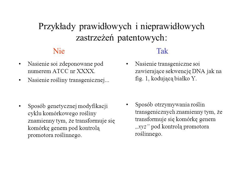 Przykłady prawidłowych i nieprawidłowych zastrzeżeń patentowych: Nasienie soi zdeponowane pod numerem ATCC nr XXXX.