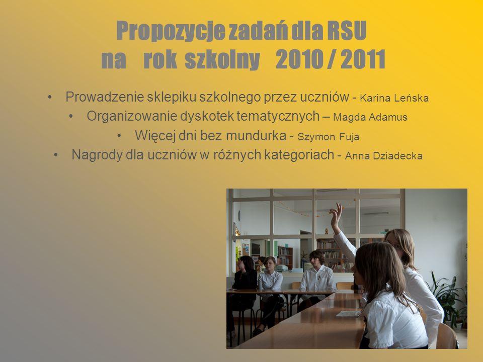 Propozycje zadań dla RSU na rok szkolny 2010 / 2011 Prowadzenie sklepiku szkolnego przez uczniów - Karina Leńska Organizowanie dyskotek tematycznych –