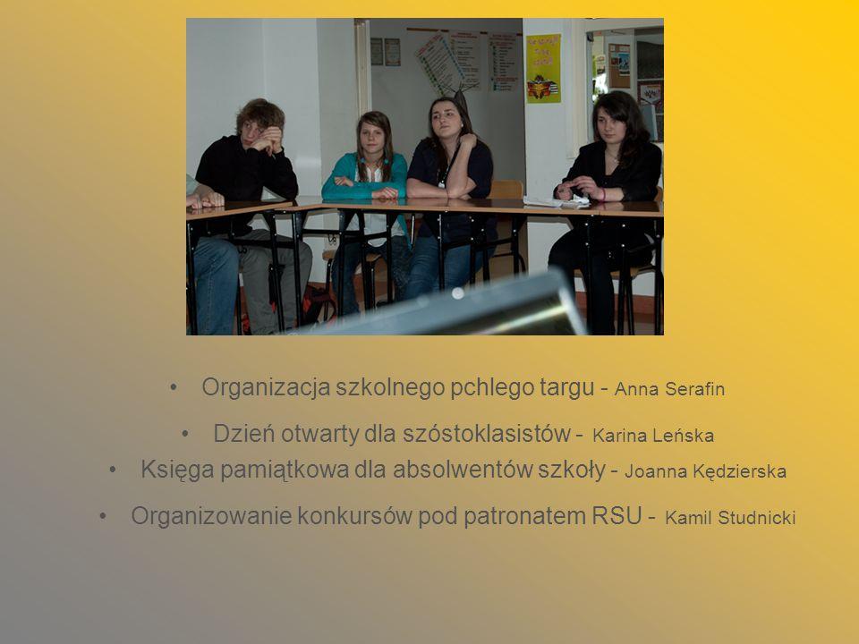 Organizacja szkolnego pchlego targu - Anna Serafin Dzień otwarty dla szóstoklasistów - Karina Leńska Księga pamiątkowa dla absolwentów szkoły - Joanna