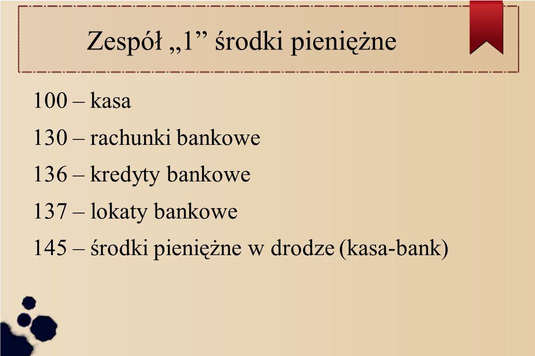 Zespół 1 środki pieniężne 100 – kasa 130 – rachunki bankowe 136 – kredyty bankowe 137 – lokaty bankowe 145 – środki pieniężne w drodze (kasa-bank)