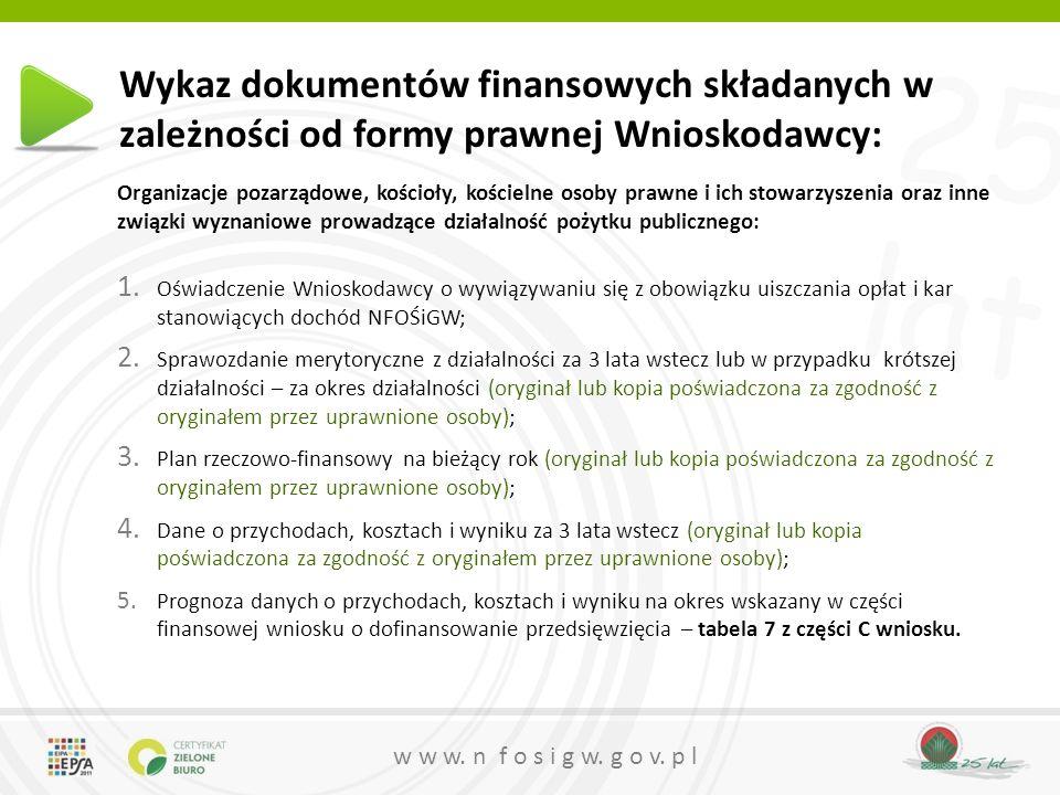 25 lat w w w. n f o s i g w. g o v. p l Wykaz dokumentów finansowych składanych w zależności od formy prawnej Wnioskodawcy: Organizacje pozarządowe, k