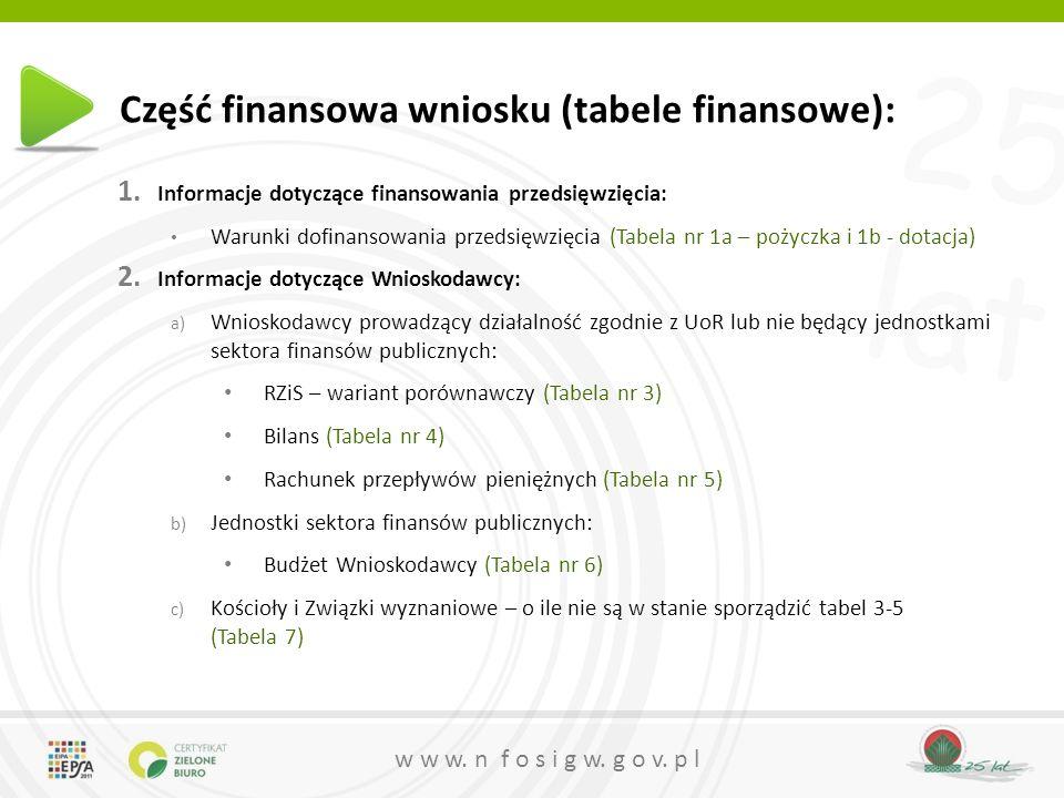 25 lat w w w. n f o s i g w. g o v. p l Część finansowa wniosku (tabele finansowe): 1. Informacje dotyczące finansowania przedsięwzięcia: Warunki dofi