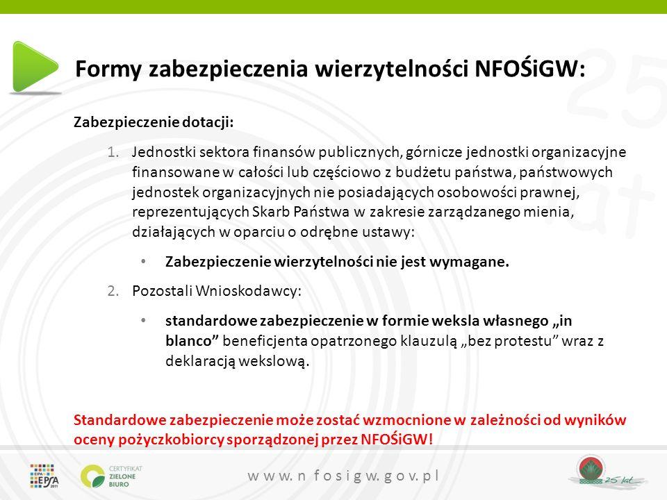 25 lat w w w. n f o s i g w. g o v. p l Formy zabezpieczenia wierzytelności NFOŚiGW: Zabezpieczenie dotacji: 1.Jednostki sektora finansów publicznych,