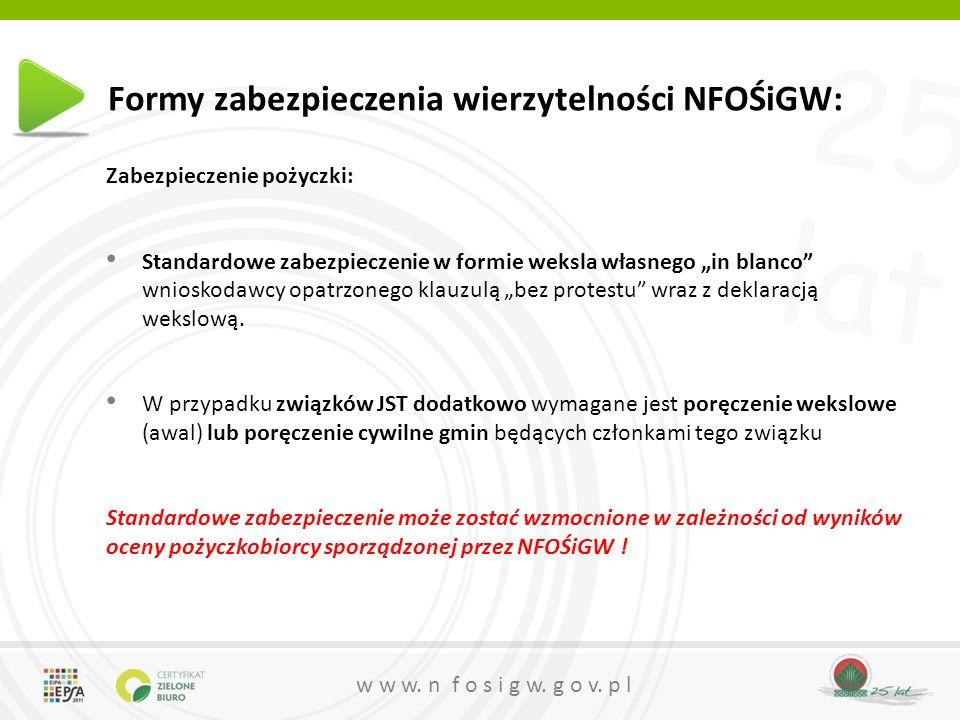 25 lat w w w. n f o s i g w. g o v. p l Formy zabezpieczenia wierzytelności NFOŚiGW: Zabezpieczenie pożyczki: Standardowe zabezpieczenie w formie weks