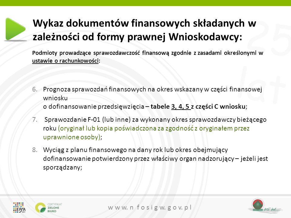 25 lat w w w. n f o s i g w. g o v. p l Wykaz dokumentów finansowych składanych w zależności od formy prawnej Wnioskodawcy: Podmioty prowadzące sprawo