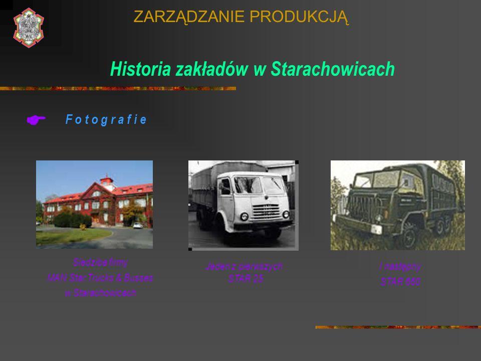 ZARZĄDZANIE PRODUKCJĄ Historia zakładów w Starachowicach F o t o g r a f i e Siedziba firmy MAN Star Trucks & Busses w Starachowicach Jeden z pierwszy