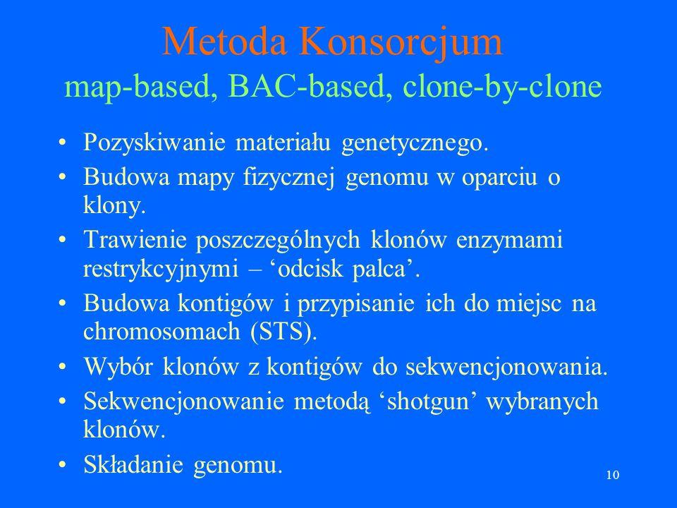 9 Główne trudności w sekwencjonowaniu genomu człowieka Rozmiar genomu (~3Gb). Duża część genomu zawiera repetytywne fragmenty. Przykładowo część genom