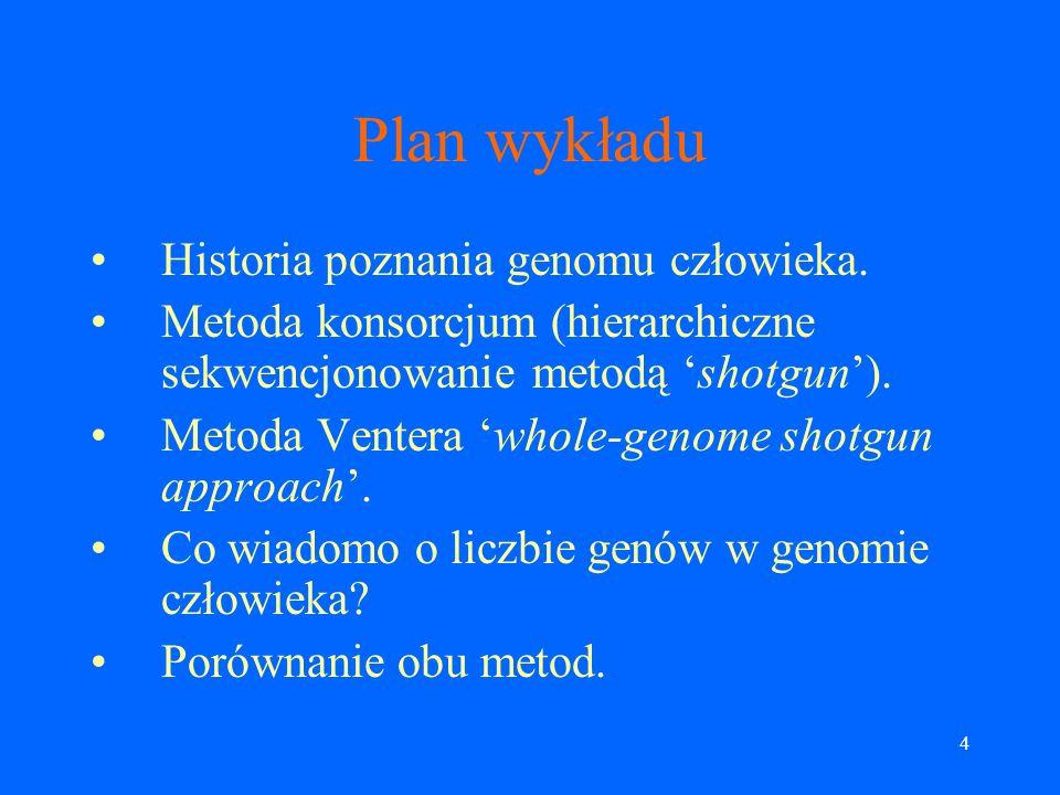 54 Dwie strategie asemblacji genomu Whole-genome assembly (WGA).