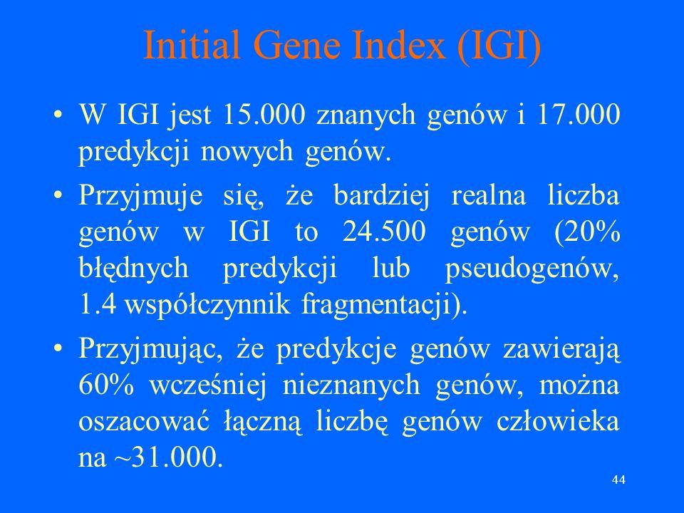 43 Initial Gene Index (IGI) System Ensembl (używa Genscan, weryfikuje w oparciu o podobieństwo do białek, mRNA, EST i białkowych motywów (zawarte w ba