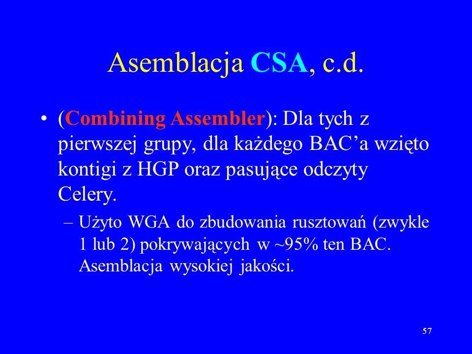 56 Asemblacja CSA (Matcher): Rozdzielenie danych Celery na te, które pasują do BACów z danych publicznych i na resztę (21 milionów odczytów pasowało,
