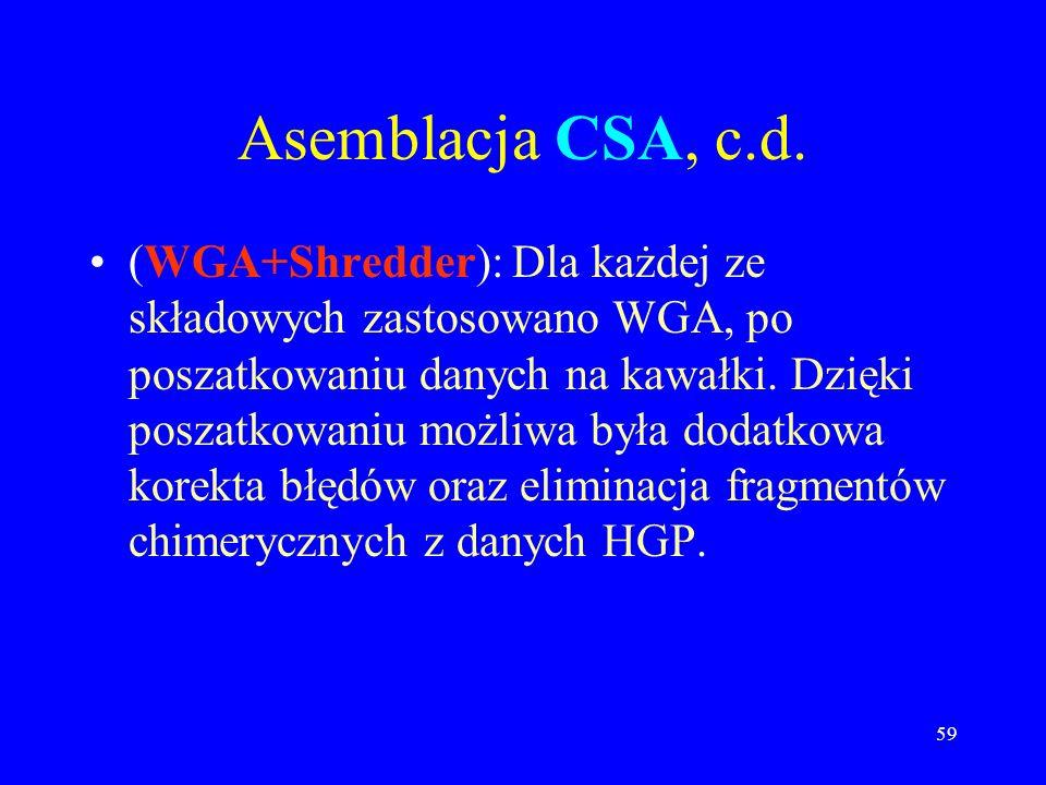 58 Asemblacja CSA, c.d. (WGA): Dla drugiej grupy (nowe dane) przeprowadzono WGA. (Tiler): Analiza porządku i nakryć dla rusztowań pochodzących z BACów