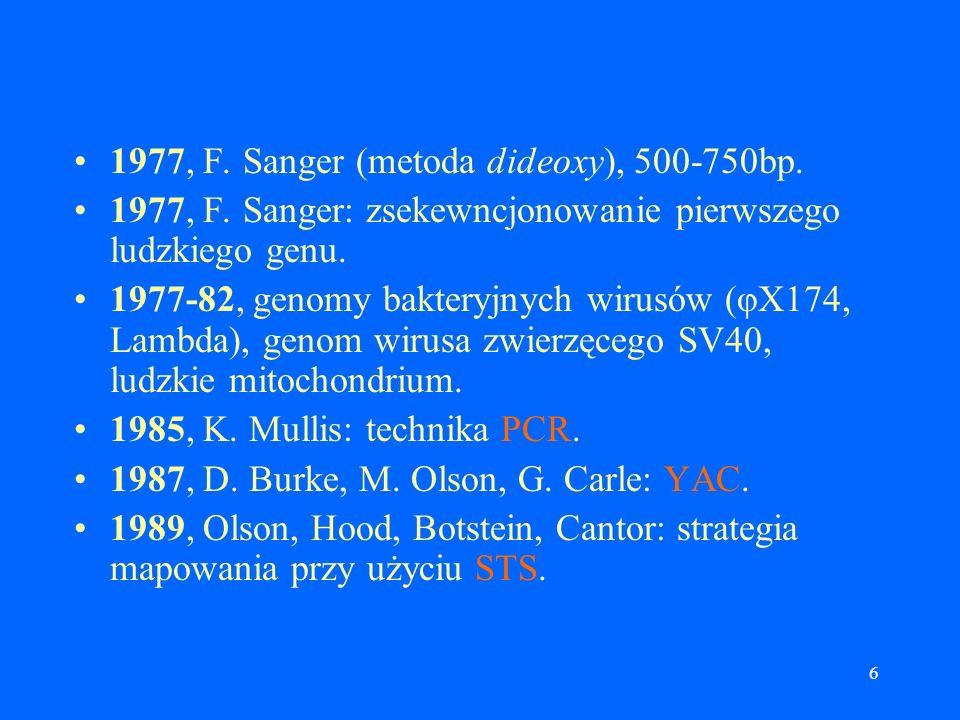 6 1977, F.Sanger (metoda dideoxy), 500-750bp. 1977, F.