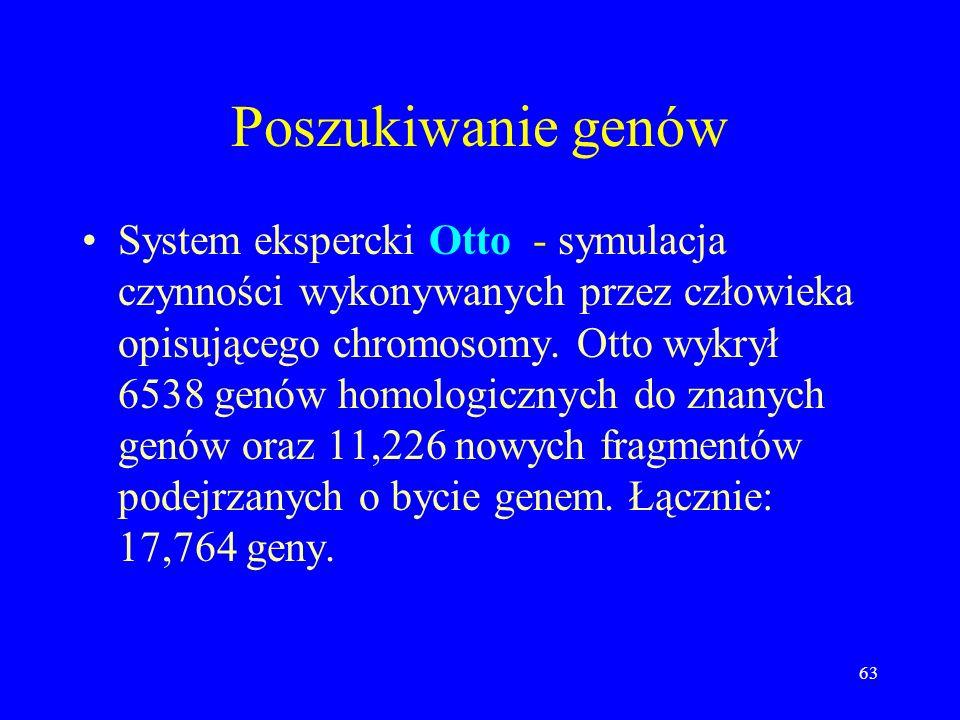 62 Analiza genomu (wg. Celery) Poszukiwanie genów. Wstępny opis chromosomów. Korelacja gęstości genów z innymi wielkościami. Rozkład genów wg. molekul