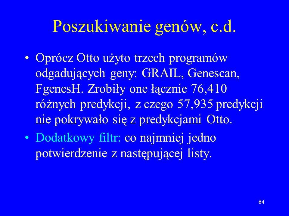 63 Poszukiwanie genów System ekspercki Otto - symulacja czynności wykonywanych przez człowieka opisującego chromosomy. Otto wykrył 6538 genów homologi