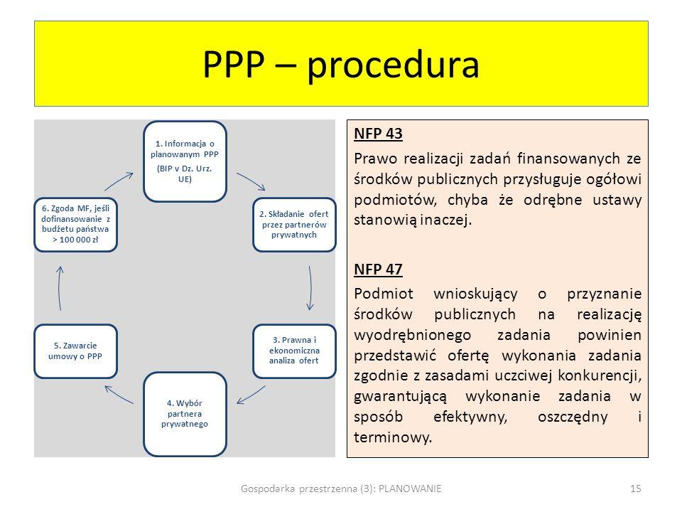 PPP – procedura 1. Informacja o planowanym PPP (BIP v Dz. Urz. UE) 2. Składanie ofert przez partnerów prywatnych 3. Prawna i ekonomiczna analiza ofert