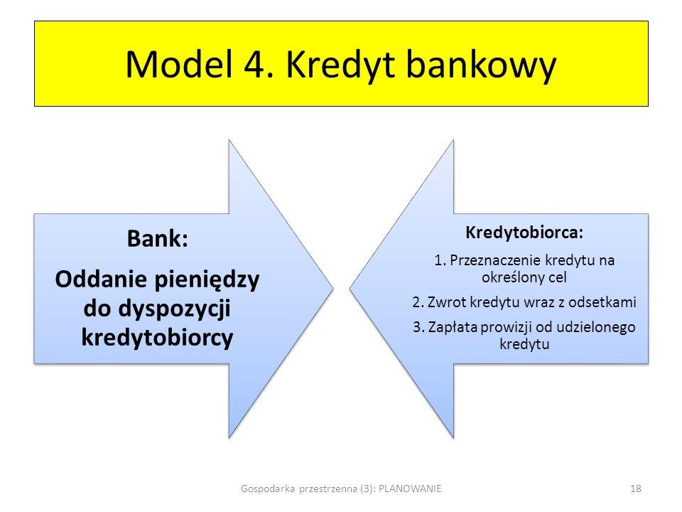 Model 4. Kredyt bankowy Bank: Oddanie pieniędzy do dyspozycji kredytobiorcy Kredytobiorca: 1. Przeznaczenie kredytu na określony cel 2. Zwrot kredytu