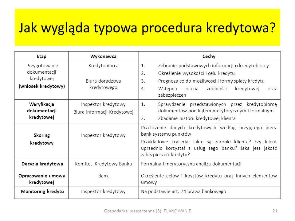Jak wygląda typowa procedura kredytowa? EtapWykonawcaCechy Przygotowanie dokumentacji kredytowej (wniosek kredytowy) Kredytobiorca Biura doradztwa kre