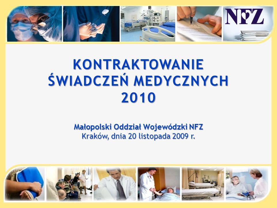 KONTRAKTOWANIE ŚWIADCZEŃ MEDYCZNYCH 2010 Małopolski Oddział Wojewódzki NFZ Kraków, dnia 20 listopada 2009 r.