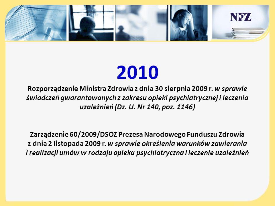 2010 Rozporządzenie Ministra Zdrowia z dnia 30 sierpnia 2009 r. w sprawie świadczeń gwarantowanych z zakresu opieki psychiatrycznej i leczenia uzależn