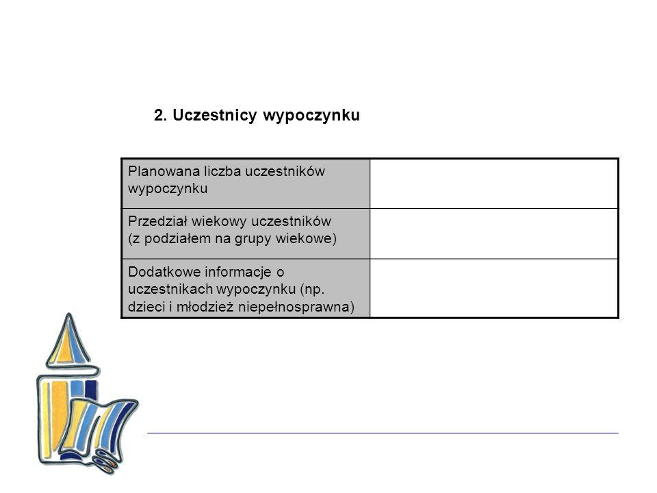 2. Uczestnicy wypoczynku Planowana liczba uczestników wypoczynku Przedział wiekowy uczestników (z podziałem na grupy wiekowe) Dodatkowe informacje o u