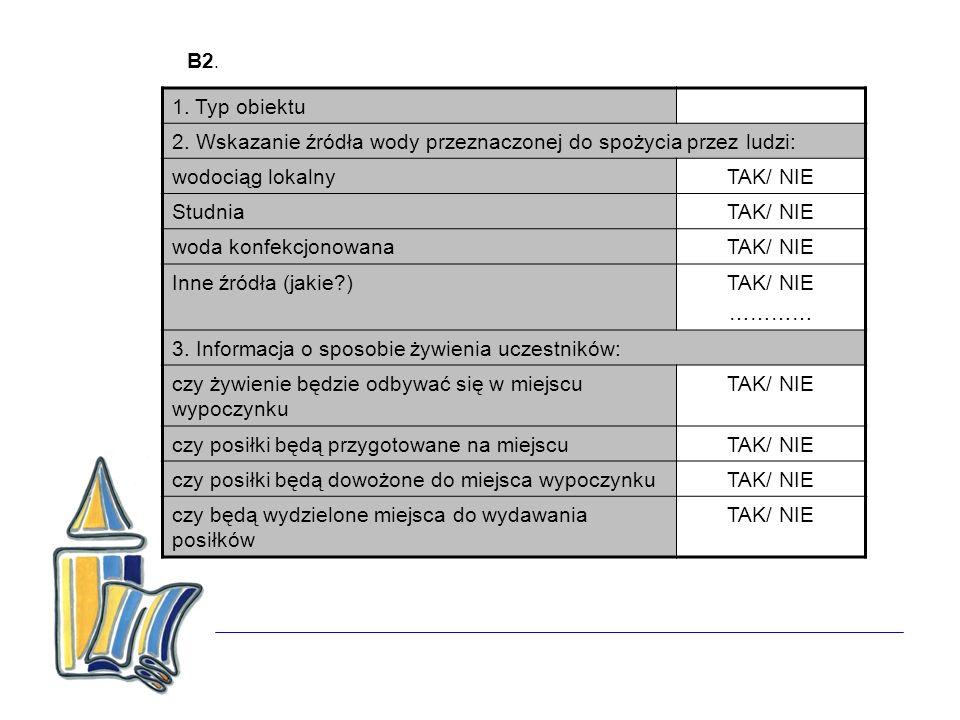 B2. 1. Typ obiektu 2. Wskazanie źródła wody przeznaczonej do spożycia przez ludzi: wodociąg lokalnyTAK/ NIE StudniaTAK/ NIE woda konfekcjonowanaTAK/ N