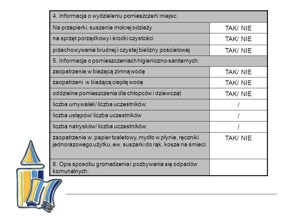 4. Informacja o wydzieleniu pomieszczeń/ miejsc: Na przepierki, suszenie mokrej odzieży TAK/ NIE na sprzęt porządkowy i środki czystości TAK/ NIE prze