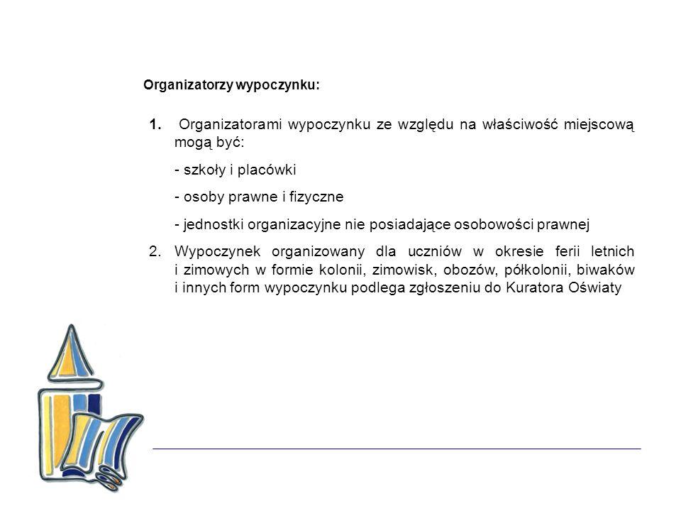 Organizatorzy wypoczynku: 1. Organizatorami wypoczynku ze względu na właściwość miejscową mogą być: - szkoły i placówki - osoby prawne i fizyczne - je