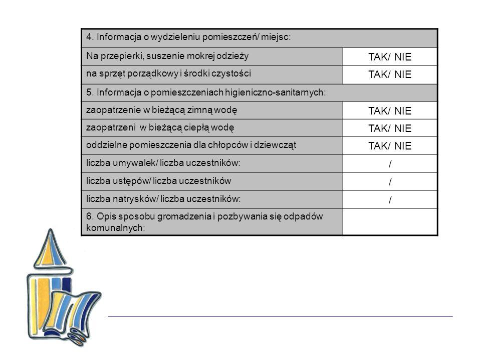 4. Informacja o wydzieleniu pomieszczeń/ miejsc: Na przepierki, suszenie mokrej odzieży TAK/ NIE na sprzęt porządkowy i środki czystości TAK/ NIE 5. I
