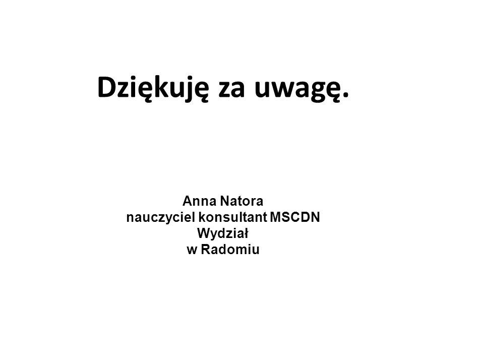 Dziękuję za uwagę. Anna Natora nauczyciel konsultant MSCDN Wydział w Radomiu