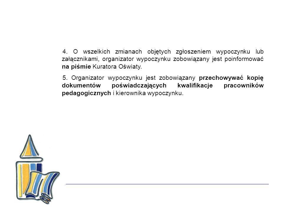 4. O wszelkich zmianach objętych zgłoszeniem wypoczynku lub załącznikami, organizator wypoczynku zobowiązany jest poinformować na piśmie Kuratora Oświ