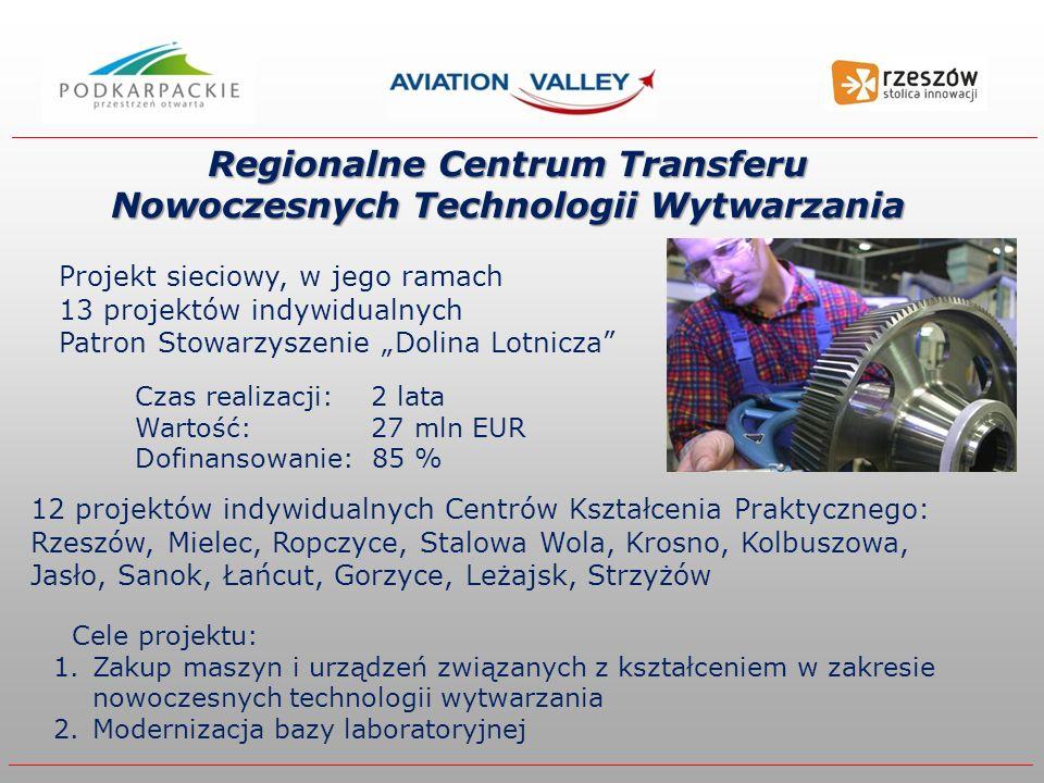 Regionalne Centrum Transferu Nowoczesnych Technologii Wytwarzania 12 projektów indywidualnych Centrów Kształcenia Praktycznego: Rzeszów, Mielec, Ropczyce, Stalowa Wola, Krosno, Kolbuszowa, Jasło, Sanok, Łańcut, Gorzyce, Leżajsk, Strzyżów Czas realizacji: 2 lata Wartość: 27 mln EUR Dofinansowanie: 85 % Projekt sieciowy, w jego ramach 13 projektów indywidualnych Patron Stowarzyszenie Dolina Lotnicza Cele projektu: 1.