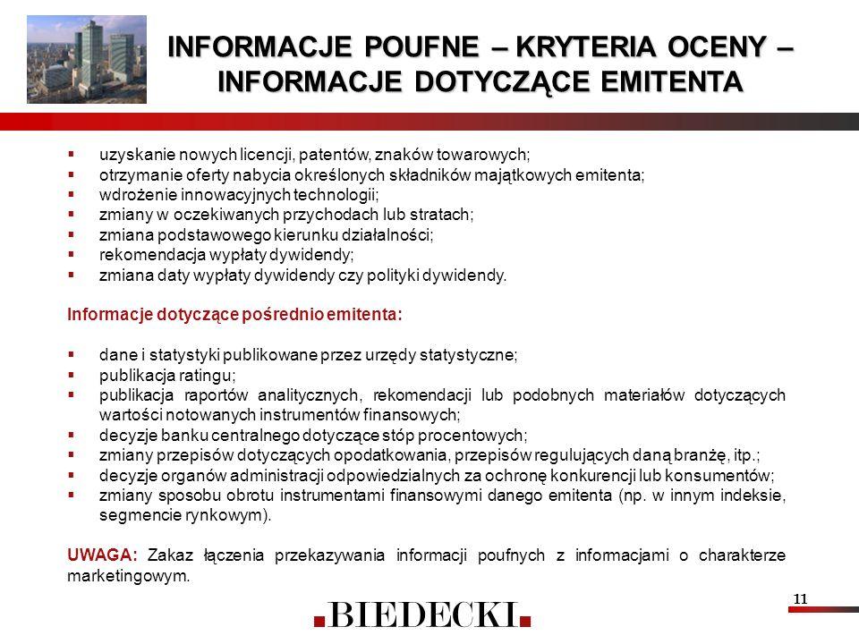 11 INFORMACJE POUFNE – KRYTERIA OCENY – INFORMACJE DOTYCZĄCE EMITENTA uzyskanie nowych licencji, patentów, znaków towarowych; otrzymanie oferty nabyci