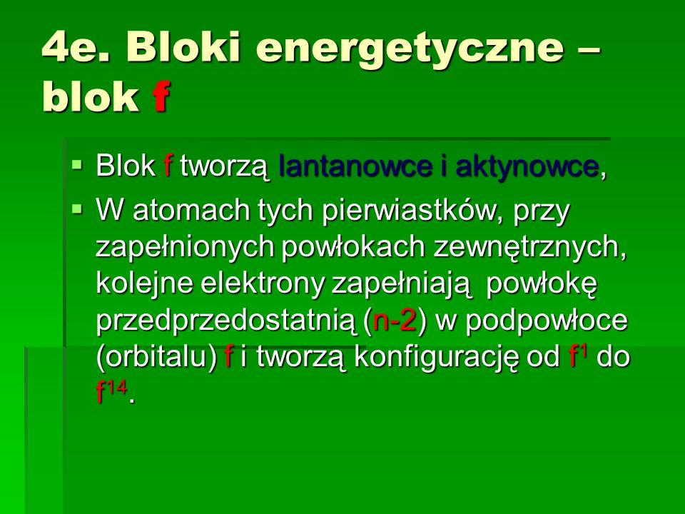 4e. Bloki energetyczne – blok f Blok f tworzą lantanowce i aktynowce, Blok f tworzą lantanowce i aktynowce, W atomach tych pierwiastków, przy zapełnio