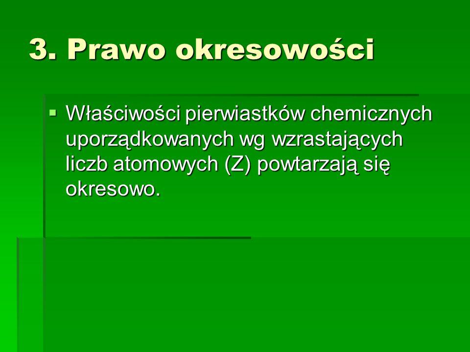3. Prawo okresowości Właściwości pierwiastków chemicznych uporządkowanych wg wzrastających liczb atomowych (Z) powtarzają się okresowo. Właściwości pi
