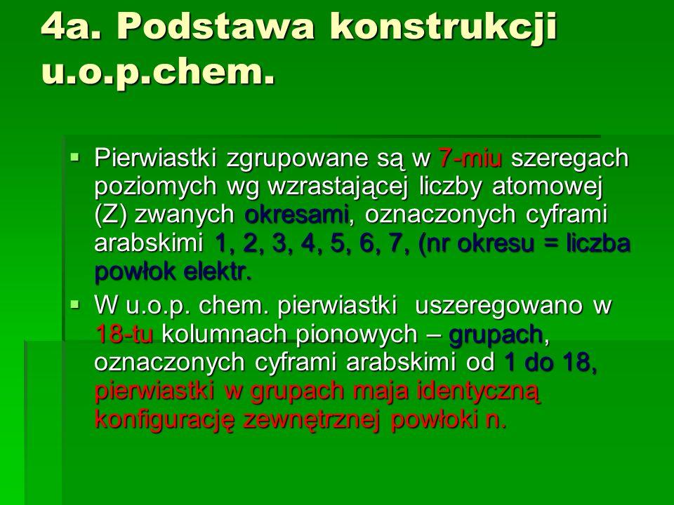 4a. Podstawa konstrukcji u.o.p.chem. Pierwiastki zgrupowane są w 7-miu szeregach poziomych wg wzrastającej liczby atomowej (Z) zwanych okresami, oznac