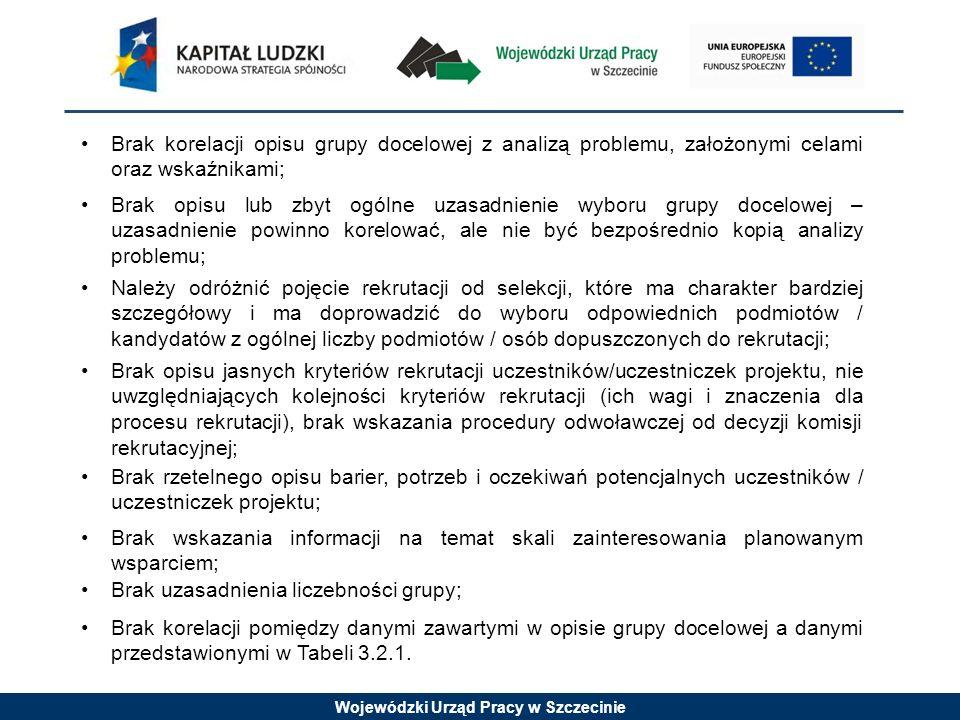 Wojewódzki Urząd Pracy w Szczecinie Brak korelacji opisu grupy docelowej z analizą problemu, założonymi celami oraz wskaźnikami; Brak opisu lub zbyt ogólne uzasadnienie wyboru grupy docelowej – uzasadnienie powinno korelować, ale nie być bezpośrednio kopią analizy problemu; Należy odróżnić pojęcie rekrutacji od selekcji, które ma charakter bardziej szczegółowy i ma doprowadzić do wyboru odpowiednich podmiotów / kandydatów z ogólnej liczby podmiotów / osób dopuszczonych do rekrutacji; Brak opisu jasnych kryteriów rekrutacji uczestników/uczestniczek projektu, nie uwzględniających kolejności kryteriów rekrutacji (ich wagi i znaczenia dla procesu rekrutacji), brak wskazania procedury odwoławczej od decyzji komisji rekrutacyjnej; Brak rzetelnego opisu barier, potrzeb i oczekiwań potencjalnych uczestników / uczestniczek projektu; Brak wskazania informacji na temat skali zainteresowania planowanym wsparciem; Brak uzasadnienia liczebności grupy; Brak korelacji pomiędzy danymi zawartymi w opisie grupy docelowej a danymi przedstawionymi w Tabeli 3.2.1.