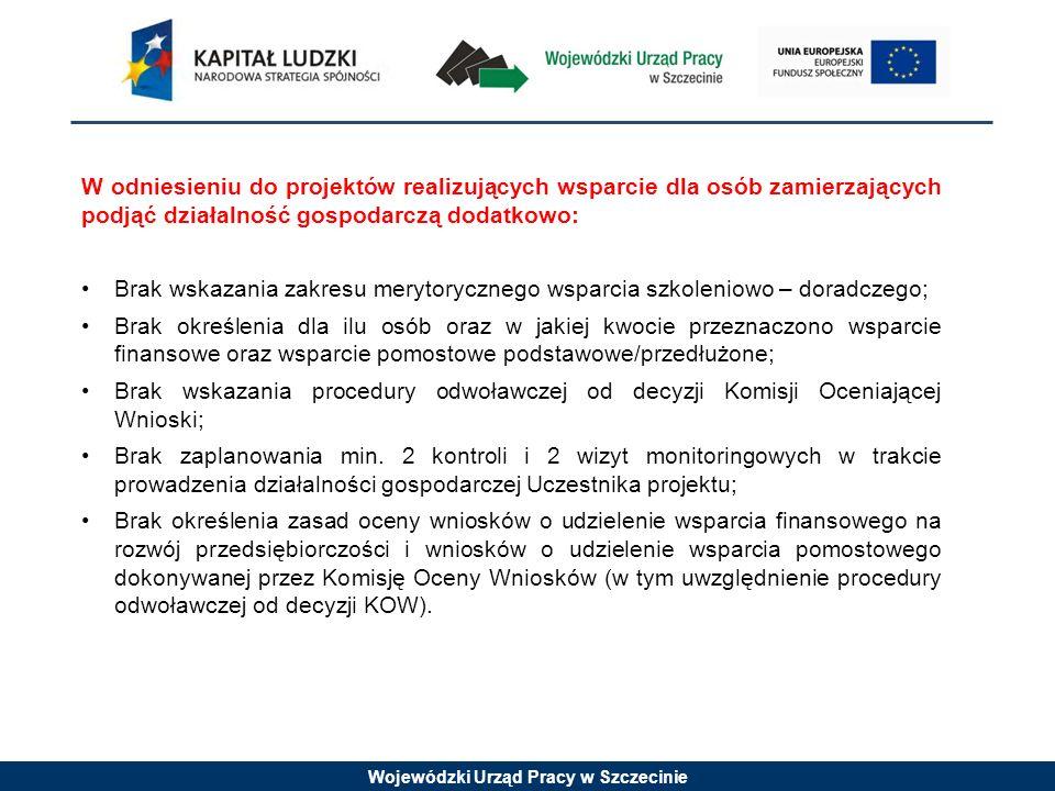 Wojewódzki Urząd Pracy w Szczecinie W odniesieniu do projektów realizujących wsparcie dla osób zamierzających podjąć działalność gospodarczą dodatkowo: Brak wskazania zakresu merytorycznego wsparcia szkoleniowo – doradczego; Brak określenia dla ilu osób oraz w jakiej kwocie przeznaczono wsparcie finansowe oraz wsparcie pomostowe podstawowe/przedłużone; Brak wskazania procedury odwoławczej od decyzji Komisji Oceniającej Wnioski; Brak zaplanowania min.
