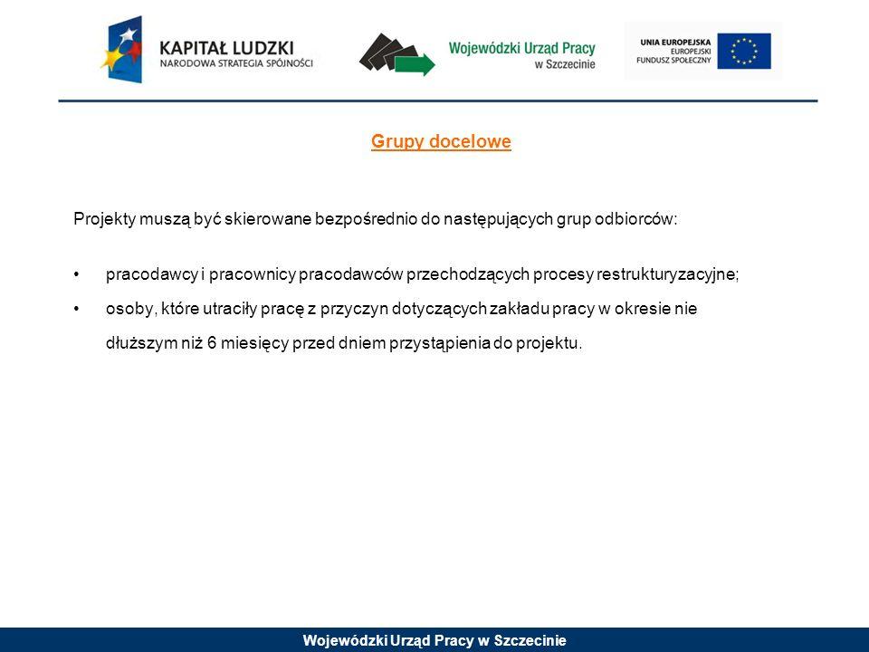 Wojewódzki Urząd Pracy w Szczecinie Grupy docelowe Projekty muszą być skierowane bezpośrednio do następujących grup odbiorców: pracodawcy i pracownicy