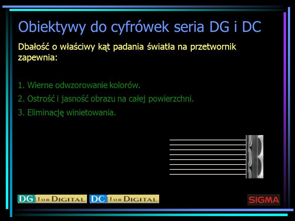 Obiektywy do cyfrówek seria DG i DC Dbałość o właściwy kąt padania światła na przetwornik zapewnia: 1. Wierne odwzorowanie kolorów. 2. Ostrość i jasno
