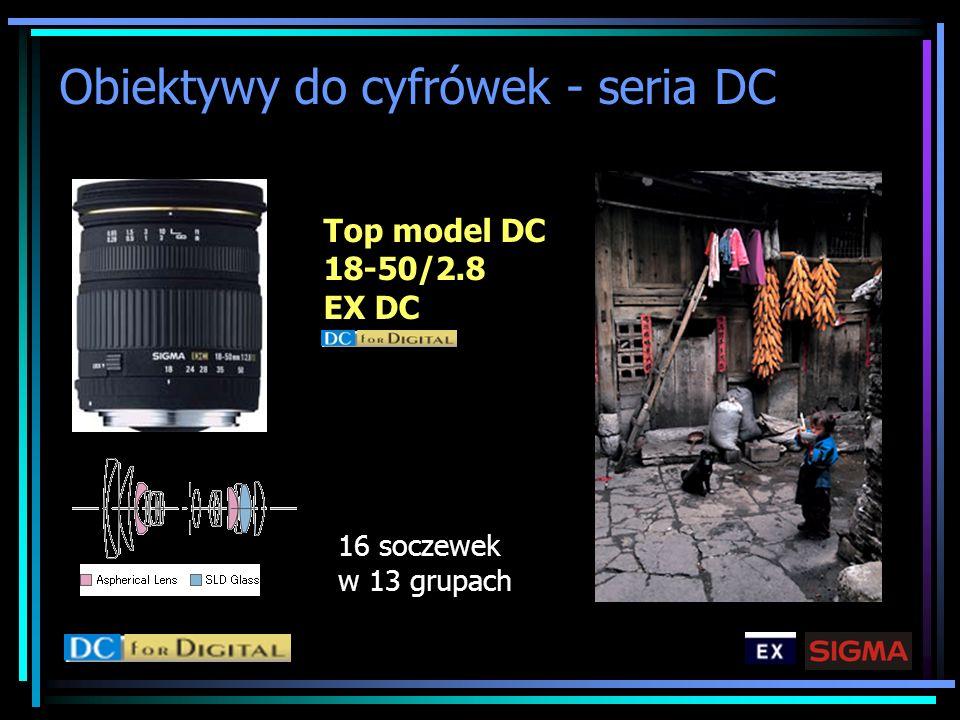 Obiektywy do cyfrówek - seria DC Top model DC 18-50/2.8 EX DC 16 soczewek w 13 grupach