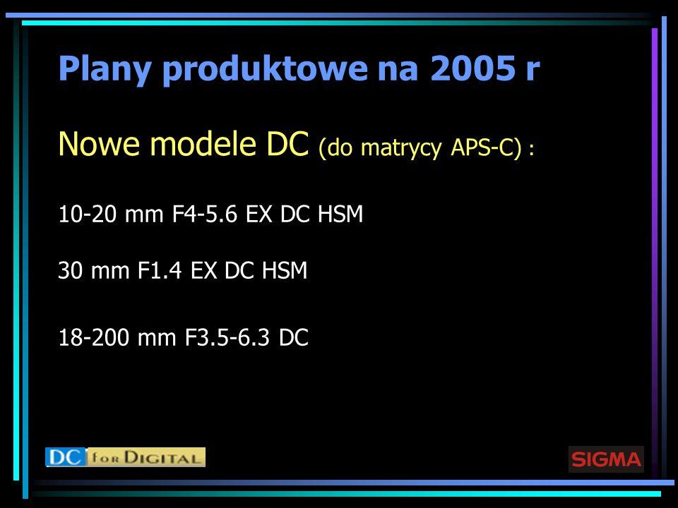 Plany produktowe na 2005 r Nowe modele DC (do matrycy APS-C) : 10-20 mm F4-5.6 EX DC HSM 30 mm F1.4 EX DC HSM 18-200 mm F3.5-6.3 DC