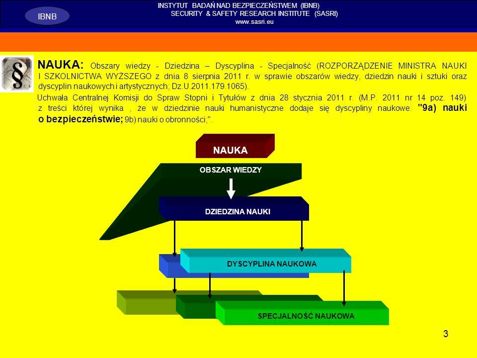 14 INSTYTUT BADAŃ NAD BEZPIECZEŃSTWEM (IBNB) SECURITY & SAFETY RESEARCH INSTITUTE (SASRI) www.sasri.eu IBNB METODY, TECHNIKI I NARZĘDZIA BADAWCZE W działaniach diagnostycznych: metoda analizy systemowej, wykorzystanie funkcji eksplanacyjnej; podział na badania generalizujące i badania diagnostyczne.