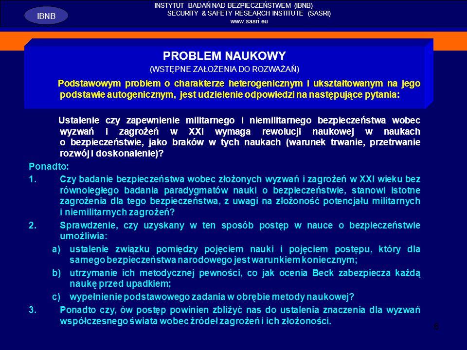 7 INSTYTUT BADAŃ NAD BEZPIECZEŃSTWEM (IBNB) SECURITY & SAFETY RESEARCH INSTITUTE (SASRI) www.sasri.eu IBNB UZASADNIENIE WYBORU TEMATU ROZWAŻAŃ 2.