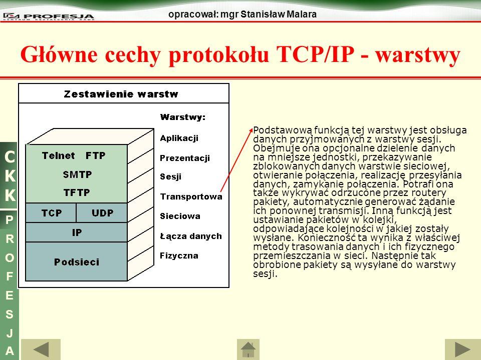 CKKCKK P R O F E S J A opracował: mgr Stanisław Malara Główne cechy protokołu TCP/IP - warstwy Podstawową funkcją tej warstwy jest obsługa danych przy