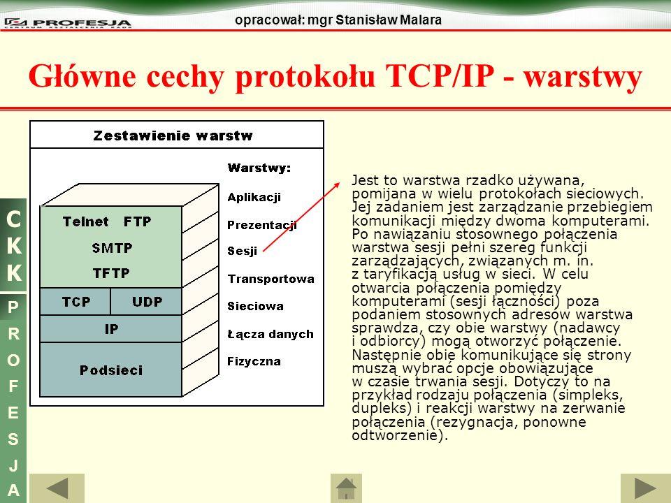 CKKCKK P R O F E S J A opracował: mgr Stanisław Malara Jest to warstwa rzadko używana, pomijana w wielu protokołach sieciowych. Jej zadaniem jest zarz