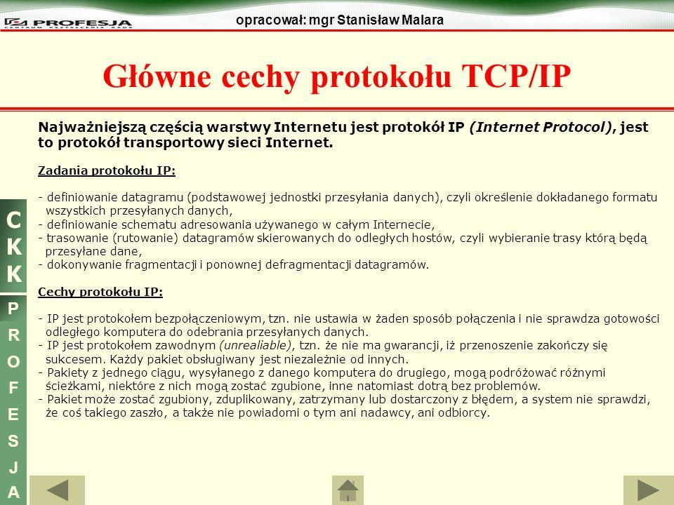 CKKCKK P R O F E S J A opracował: mgr Stanisław Malara Najważniejszą częścią warstwy Internetu jest protokół IP (Internet Protocol), jest to protokół
