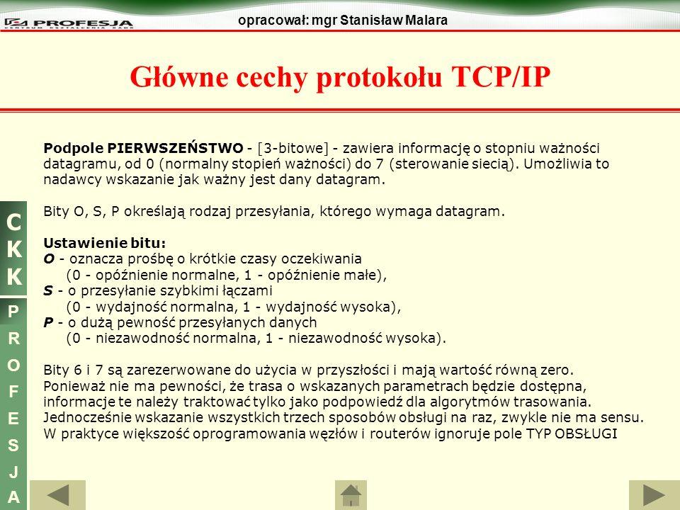 CKKCKK P R O F E S J A opracował: mgr Stanisław Malara Główne cechy protokołu TCP/IP Podpole PIERWSZEŃSTWO - [3-bitowe] - zawiera informację o stopniu